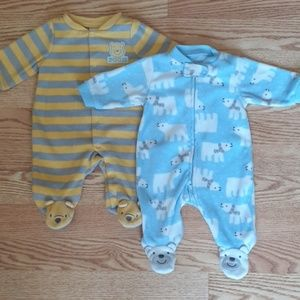 Newborn baby boy fleece footie pajamas lot of 5!